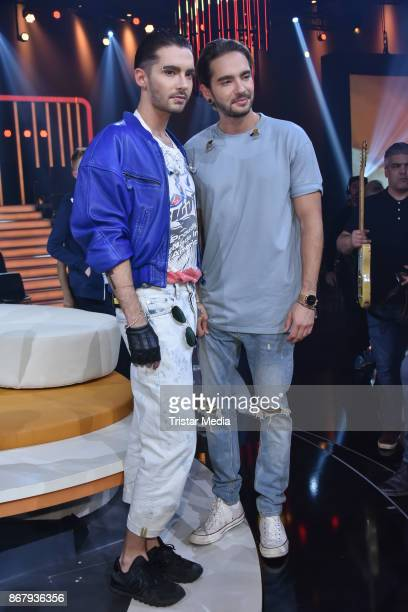 Bill Kaulitz and his brother Tom Kaulitz during the TV show 'Klein gegen Gross Das unglaubliche Duell' at Studio Berlin on October 29 2017 in Berlin...