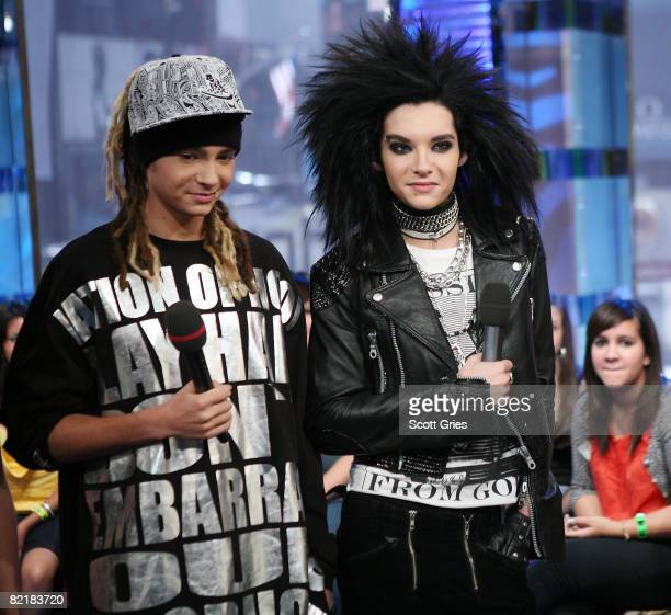 Bill Kaulitz and Tom Kaulitz of Tokio Hotel appear onstage during MTV's Total Request Live at the MTV Times Square Studios August 5 2008 in New York...