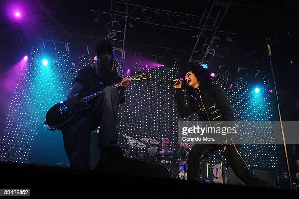 Bill Kaulitz and Tom Kaulitz of Tokio Hotel perform at House of Blues on October 24 2008 in Orlando Florida