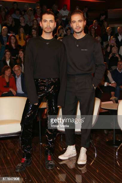Bill Kaulitz and Toml Kaulitz of the band 'Tokio Hotel' during the Markus Lanz TV Talkshow on November 22 2017 in Hamburg Germany