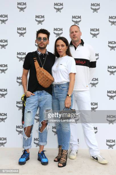 Bill Kaulitz Maria Koch and Joerg Koch attend the MCM Fashion Show Spring/Summer 2019 during the 94th Pitti Immagine Uomo on June 13 2018 in Florence...