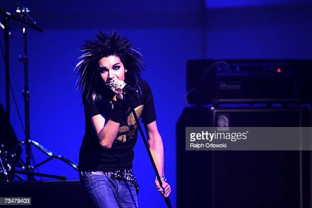 Bill Kaulitz of German band 'Tokio Hotel' performs on stage during The Dome 41 music show at the SAP Arena March 2 2007 in Mannheim Germany