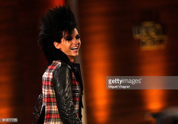 Bill Kaulitz of the band Tokio Hotel performs during the Wetten dass show at the Messe Freiburg on October 3 2009 in Freiburg Germany