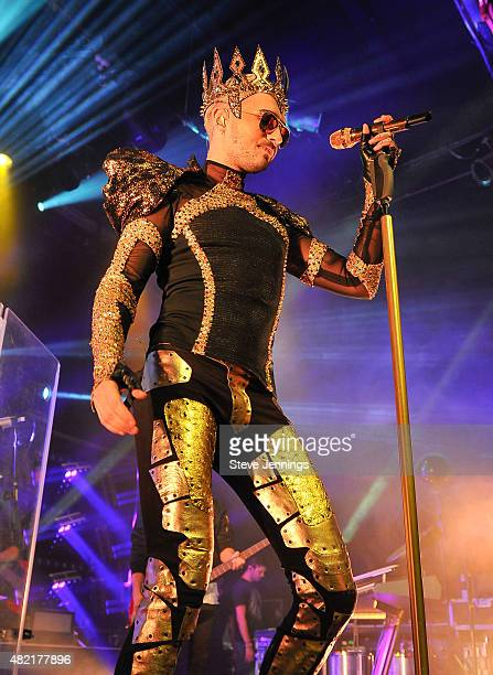 Bill Kaulitz of Tokio Hotel performs on opening night of the US leg of their 'Feel It All World Tour' at The Fillmore on July 27 2015 in San...