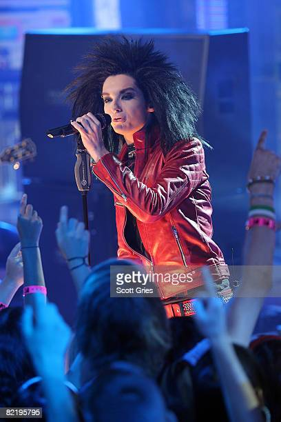 Bill Kaulitz of Tokio Hotel performs onstage during MTV's Total Request Live at the MTV Times Square Studios August 4 2008 in New York City