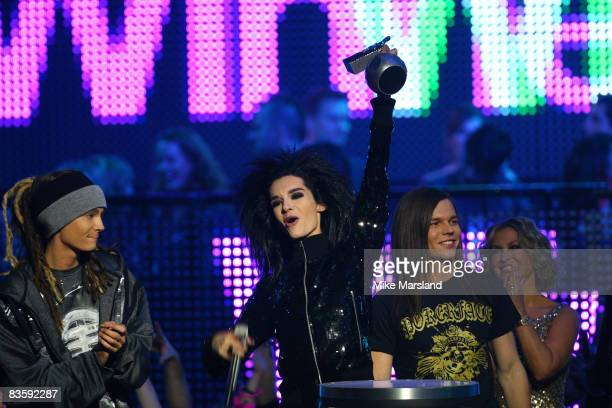Bill Kaulitz of Tokio Hotel with their Headliner Award on stage during the 2008 MTV Europe Music Awards held at at the Echo Arena on November 6 2008...