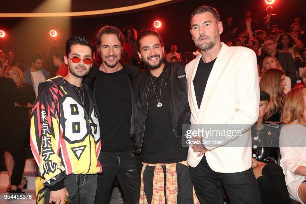 Bill Kaulitz Thomas Hayo Tom Kaulitz and Michael Michalsky during the 2nd ABOUT YOU Awards 2018 at Bavaria Studios on May 3 2018 in Munich Germany