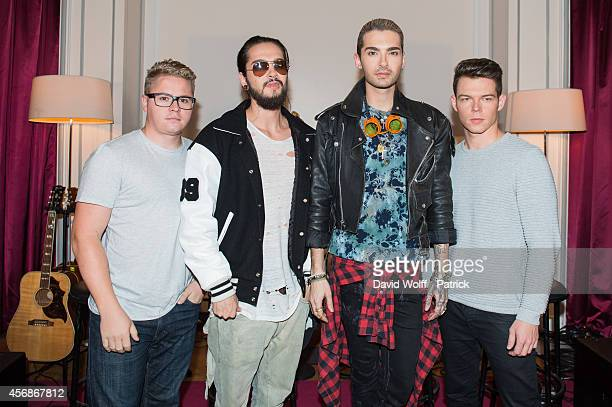 Bill Kaulitz Tom Kaulitz Georg Listing and Gustav Schäfer from Tokio Hotel are posing at Hotel de Sers during Private showcase on October 8 2014 in...