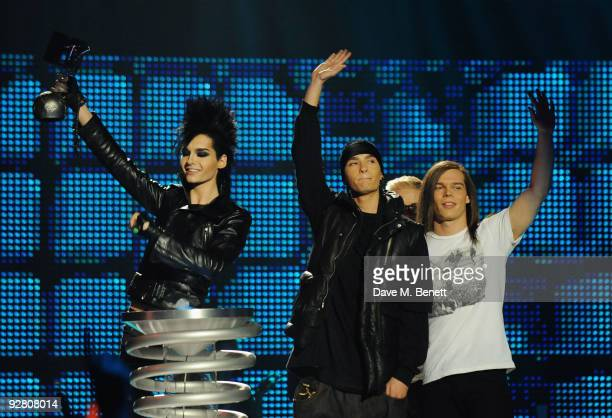 Bill Kaulitz Tom Kaulitz Gustav Schaefer and Georg Listing receive the award for Best Group during the 2009 MTV Europe Music Awards held at the O2...