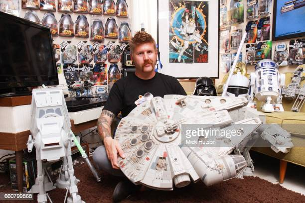 Bill Kelliher of Mastodon at home with Star Wars collection Atlanta Georgia United States 13th August 2011