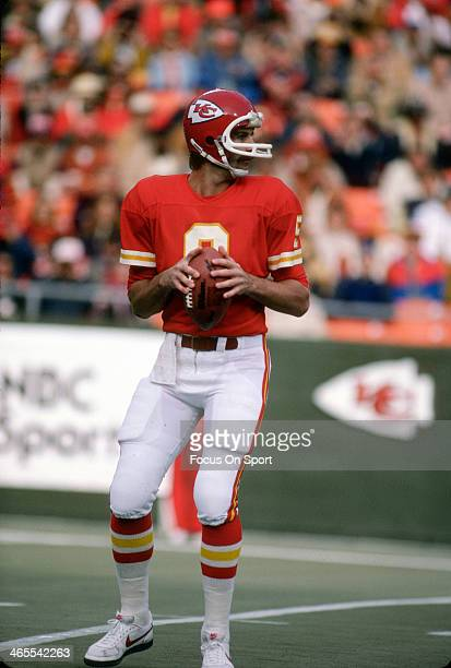 Bill Kenney of the Kansas City Chiefs drops back to pass against the Seattle Seahawks during an NFL football game November 22 1981 at Arrowhead...