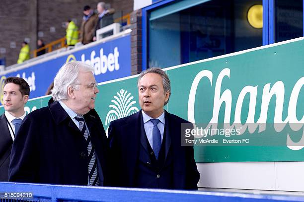 Bill Kenwright and Farhad Moshiri arrive before The Emirates FA Cup Sixth Round match between Everton and Chelsea at Goodison Park on March 12 2016...