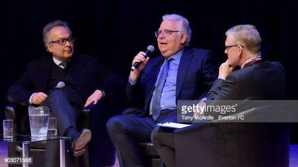 Bill Kenwright and Farhad Moshiri speak during the Everton General Meeting at Royal Liverpool Philharmonic Hall on January 9 2018 in Liverpool England