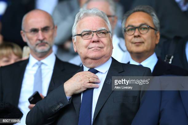 Bill Kenwright, chairman of Everton looks on prior to the Premier League match between Everton and Stoke City at Goodison Park on August 12, 2017 in...