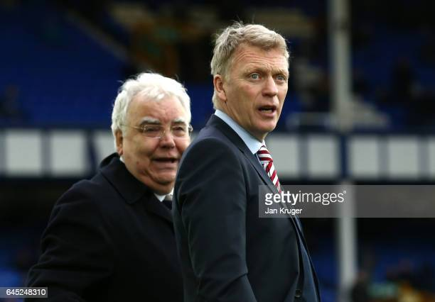 Bill Kenwright chairman of Everton speaks to David Moyes Manager of Sunderland prior to the Premier League match between Everton and Sunderland at...