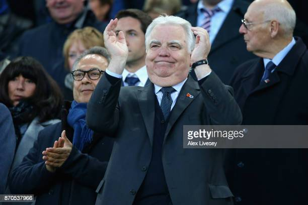 Bill Kenwright, Everton chairman is seen prior to the Premier League match between Everton and Watford at Goodison Park on November 5, 2017 in...