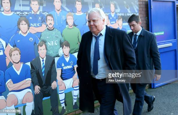 Bill Kenwright, Everton FC Chairman arrives at the stadium prior to the Premier League match between Everton FC and Arsenal FC at Goodison Park on...