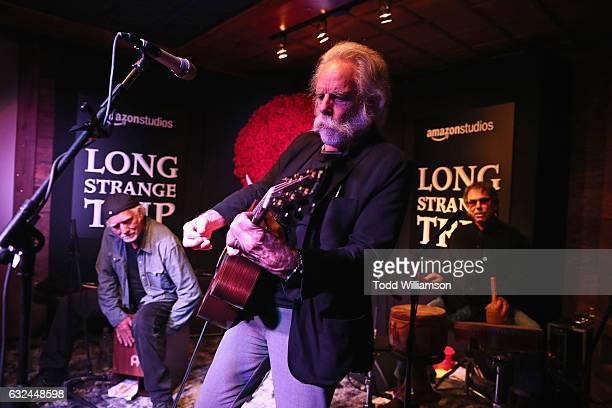 Bill Kreutzmann Bob Weir and Mickey Hart perform onstage during the Amazon Studios celebration of 'Long Strange Trip' at the 2017 Sundance Film...
