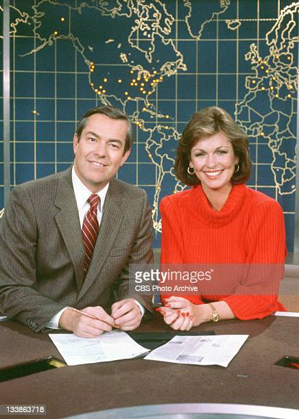 Bill Kurtis and Phyllis George on the set of The CBS Morning News Image dated December 4 1984