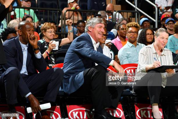 Bill Laimbeer and Herb Williams of the New York Liberty react during the game against the Chicago Sky in a WNBA game on August 27 2017 at Madison...