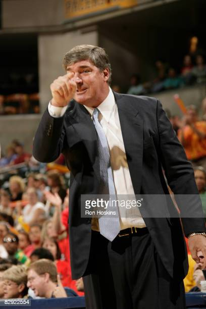 Bill Laimbeer head coach of the Detroit Shock makes a point to his team as the Shock take on the Indiana Fever in Game One of the Eastern Conference...