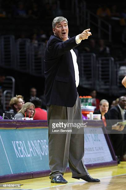 Bill Laimbeer Head Coach of the New York Liberty instructing his team against the Los Angeles Sparks in a WNBA game at Staples Center on July 22 2015...