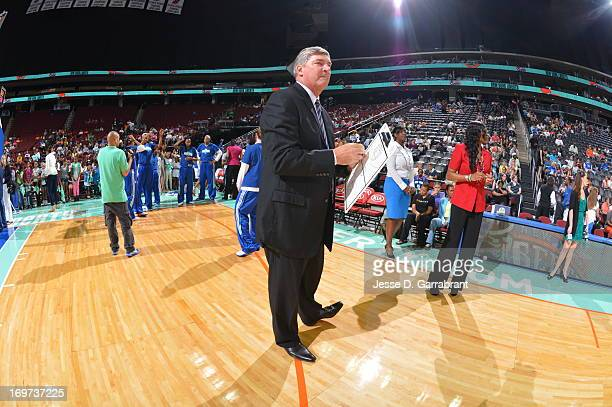 Bill Laimbeer Head Coach of the New York Liberty looks on before the game against the Tulsa Shock on May 31 2013 at Prudential Center in Newark New...