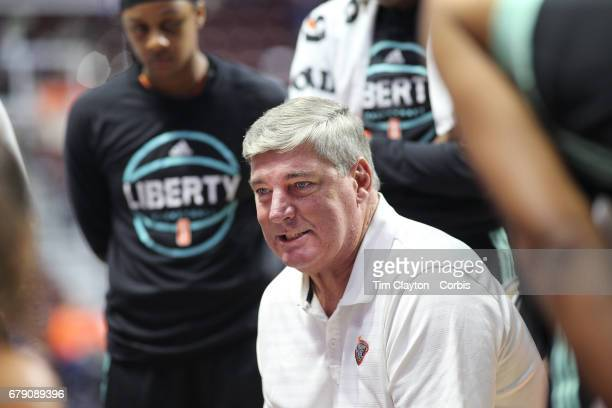 Bill Laimbeer head coach of the New York Liberty talks to his players during a time out during the Los Angeles Sparks Vs New York Liberty WNBA pre...