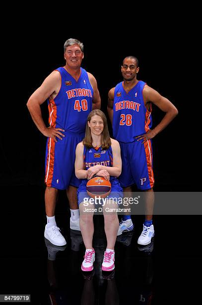 Bill Laimbeer Katie Smith and Arron Afflalo of Team Detroit poses for a portrait for Haier Shooting Stars during NBA AllStar Saturday Night as part...
