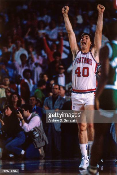 Bill Laimbeer of the Detroit Pistons celebrates against the Boston Celtics circa 1986 at the Pontiac Silverdome in Pontiac Michigan NOTE TO USER User...
