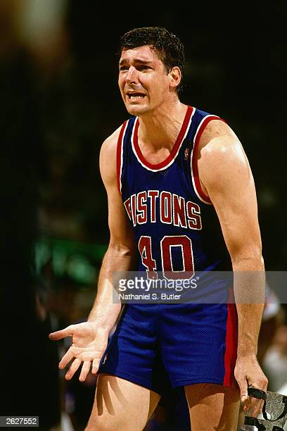 Bill Laimbeer of the Detroit Pistons shows emotion during an NBA game circa 1990 NOTE TO USER User expressly acknowledges and agrees that by...