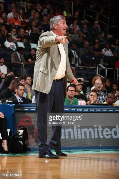 Bill Laimbeer of the New York Liberty calls out to his team during the game against the Washington Mystics on July 16 2017 at Madison Square Garden...