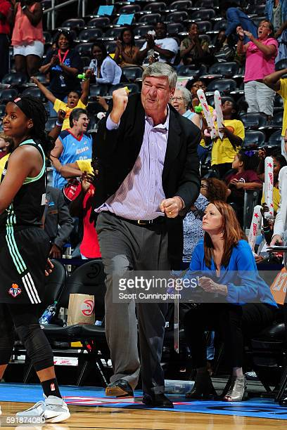 Bill Laimbeer of the New York Liberty celebrates during the game against the Atlanta Dream on June 22 2016 at Philips Arena in Atlanta Georgia NOTE...