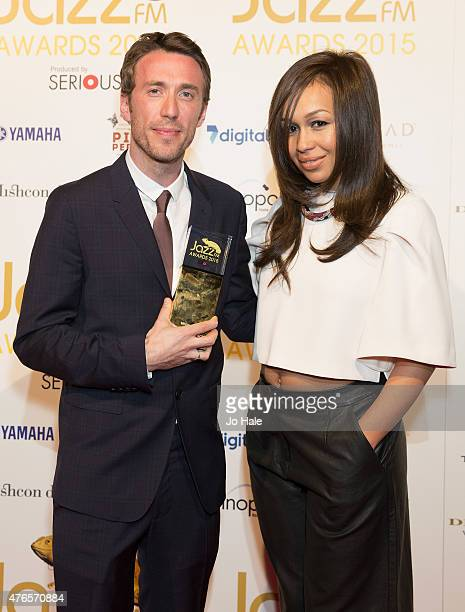 Bill Laurance with Breakthrough Award with Rebecca Ferguson at the Jazz FM Awards at Vinopolis on June 10 2015 in London England