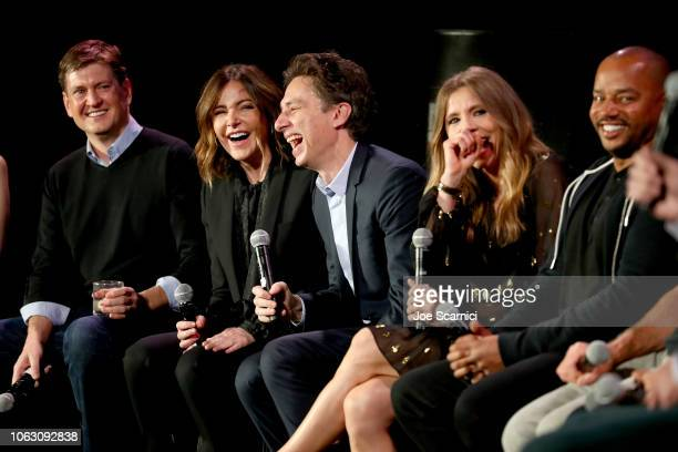 Bill Lawrence Christa Miller Zach Braff Sarah Chalke and Donald Faison speak onstage during the 'Scrubs Reunion' during Vulture Festival presented by...