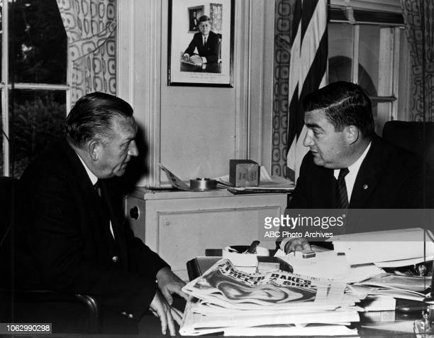 Bill Lawrence interviews Press Secretary Pierre Salinger for Disney General Entertainment Content via Getty Images News Reports 'The White House West...