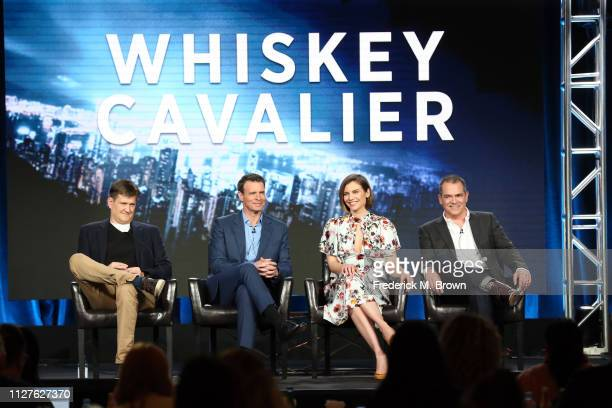 Bill Lawrence Scott Foley Lauren Cohan and David Hemingson of the television show 'Whiskey Cavalier' speak during the ABC segment of the 2019 Winter...
