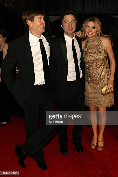 Bill Lawrence Zach Braff and Sarah Chalke during Focus Features and Universal's 2007 Golden Globe After Party Arrivals at Beverly Hilton in Los...