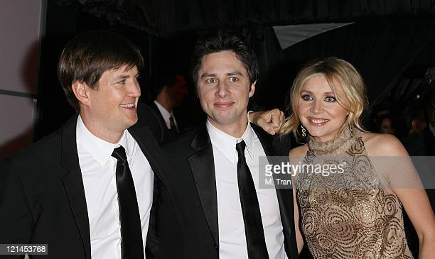 Bill Lawrence Zach Braff and Sarah Chalke during NBC Universal Golden Globe After Party at Beverly Hilton Hotel in Beverly Hills Calfirnia United...