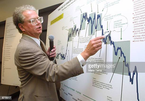 Bill Lerach lead attorney for Milberg Weiss Bershad Hynes Lerach LLP points to a chart showing the demise of Enron Corp stock December 5 2001 in New...