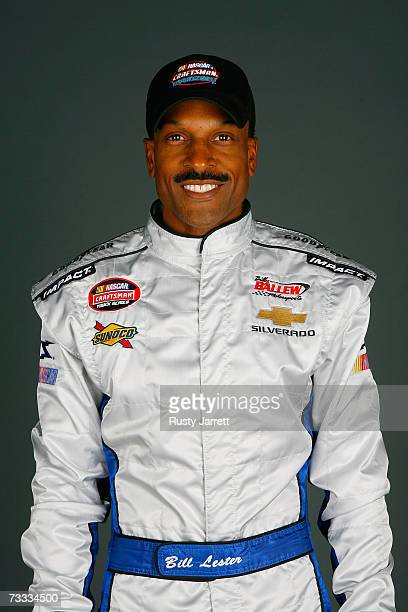 Bill Lester driver of the Manheim Central FL Auto Auction Chevrolet poses during NASCAR Craftsman Truck Series media day at Daytona International...