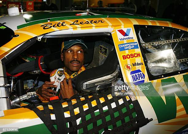 Bill Lester driver of the Waste Management Dodge speaks to the media after his qualifying run for the NASCAR Nextel Cup Series Golden Corral 500 at...