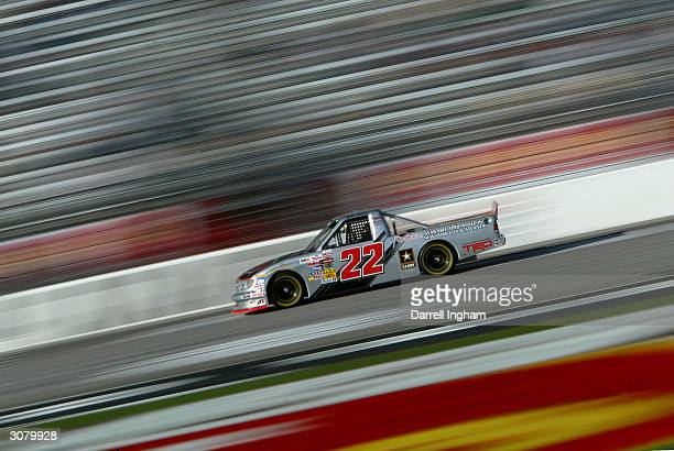 Bill Lester driving the LidRockToyota Tundra during practice for the NASCAR Craftsman Truck Series EasyCare Vehicle Service Contract 200 on March 12...