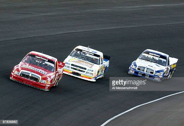 Bill Lester leads the pack into the fourth turn at the NASCAR Craftsman Truck Series Ford 200 race Friday November 14 2003 at HomesteadMiami Speedway