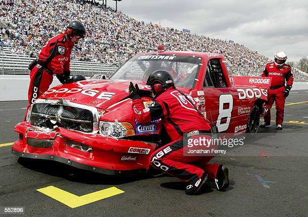 Bill Lester pits his Dodge Dealers Dodge during the NASCAR Craftsman Truck Series Advance Auto Parts 250 at Martinsville Speedway in Martinsville...