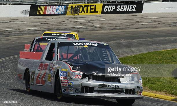 Bill Lester's banged up truck heads into turn four during the NASCAR Craftsman Truck Series Kroger 250 race on April 17 2004 at Martinsville Speedway