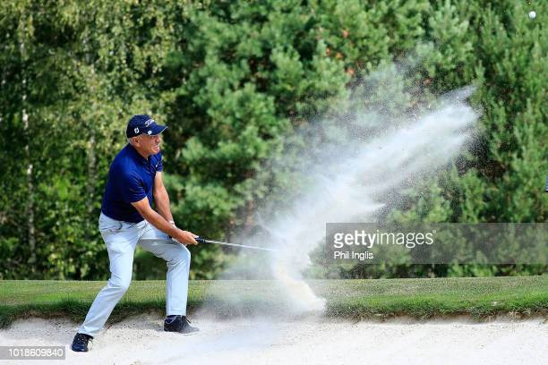 Miguel Angel Martin of Spain in action during the second round of the VTB Russian Open Golf Championship played at Moscow Country Club on August 18...