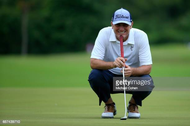 Bill Lunde reads his putt on the ninth green during the second round of the Puerto Rico Open at Coco Beach on March 24 2017 in Rio Grande Puerto Rico