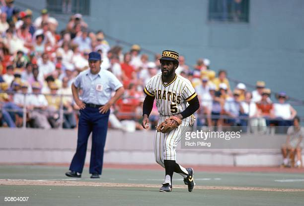Bill Madlock of the Pittsburgh Pirates moves to field the ball during a 1979 season game at Three Rivers Stadium in Pittsburgh Pennsylvania