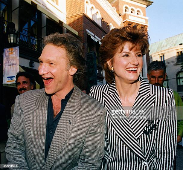 Bill Maher and Ariana Huffington pose for a photo on June 2 1998 in Beverly Hills California